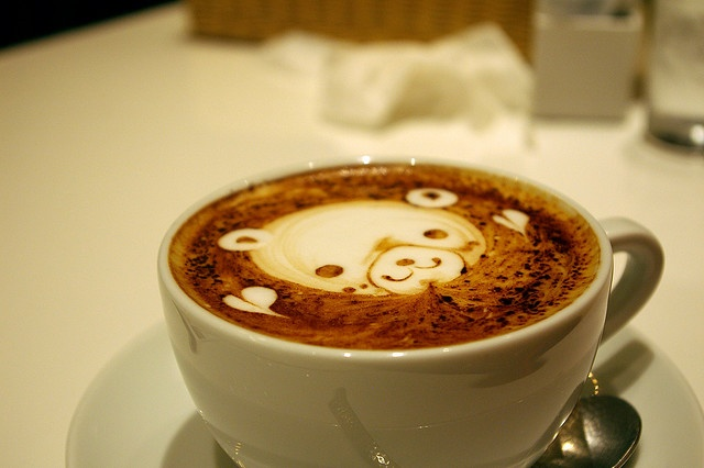 cappuccino teddy bear makes me oh so happy. With almond milk <3