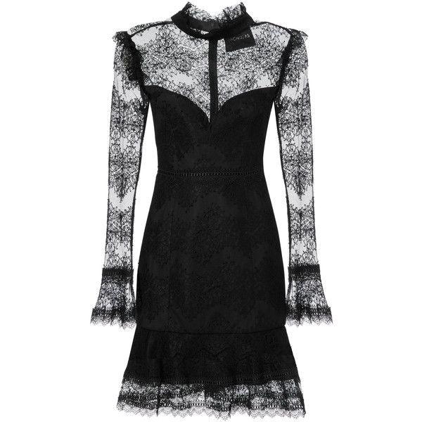 Nicholas Thalia Lace Mini Dress ($695) ❤ liked on Polyvore featuring dresses, black, short lace dress, lace dress, short dresses, floral dresses and long-sleeve mini dress
