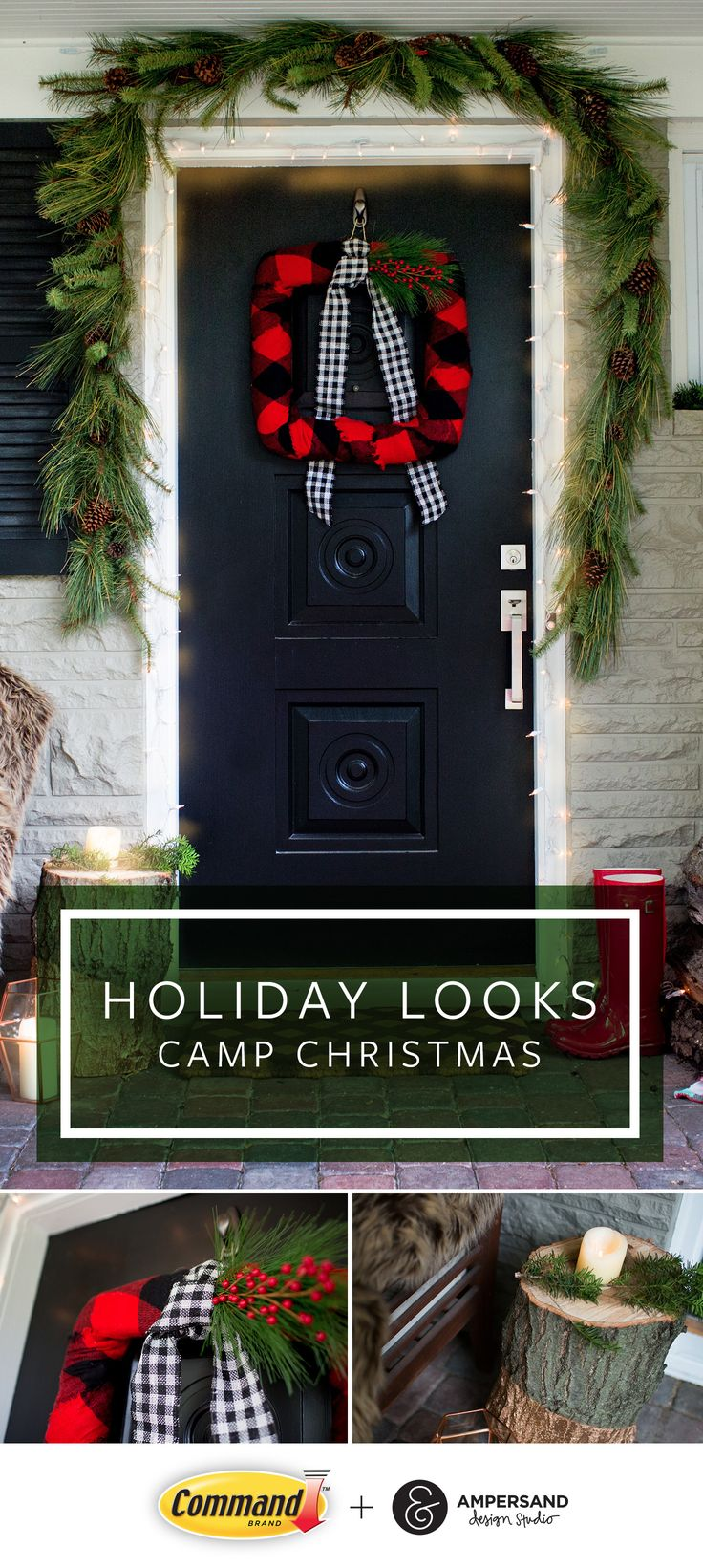 Create an outdoor holiday décor look that embraces all of the cozy things you love about the holidays with Camp Christmas by Command™ Brand & Ampersand Design Studio. Outdoor holiday decorating trends like Camp Christmas combine the natural aspects of the holiday season and the classic red and green holiday color combinations mixed trendy plaid patterns for a modern look. Complete this cozy holiday trend with twinkle lights and a faux fur blanket to snuggle up in on those chilly winter…