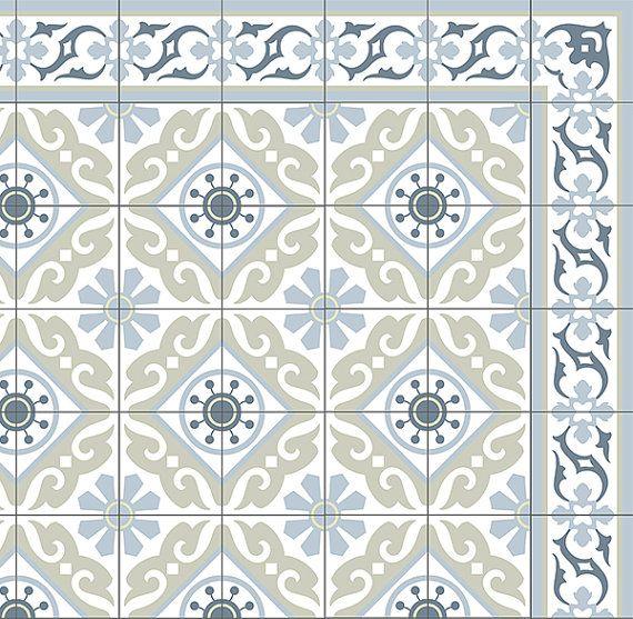 tiles pattern decorative pvc vinyl mat linoleum rug color gray green and azure 212 w nde. Black Bedroom Furniture Sets. Home Design Ideas