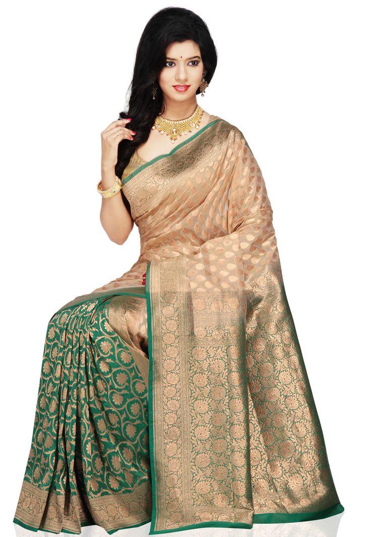 Light Beige and Green Banarasi Handloom Pure Silk Saree with Blouse: SHR139