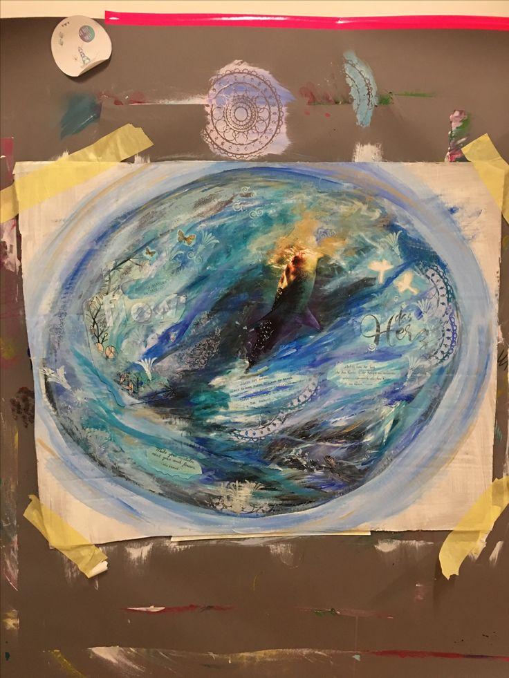 """Workshopbild einer Teilnehmerin zum """"intuitiven Malen"""""""