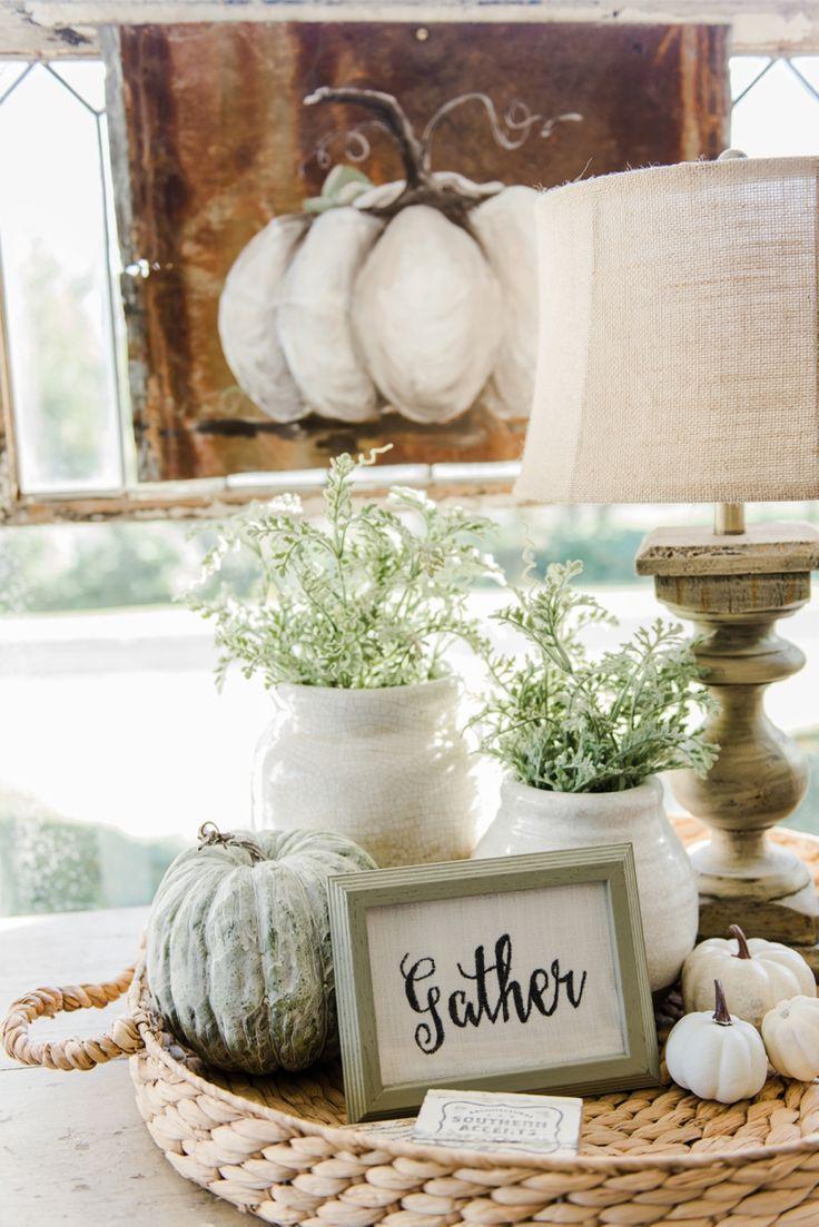 Neutral fall decor - A cozy farmhouse fall sunroom. A must pin for cozy fall…