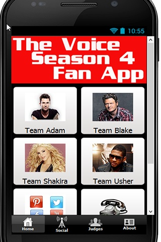 You LOVE The Voice! Season 4 is back with 2 new judges and more excitement. So you need to download the Official Voice Fan App for season 4 RIGHT NOW! You\'ll stay up to date with every bit of news and tweets from Adam, Blake, Shakira and Usher. You\'ll also be able to follow all the contestants from each team as well as vote right from the app!    We will be updating this app all throughout the season so make sure you keep it updated so you don\'t miss a thing.    What are you waiting for?