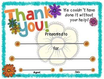 printable thank you certificates