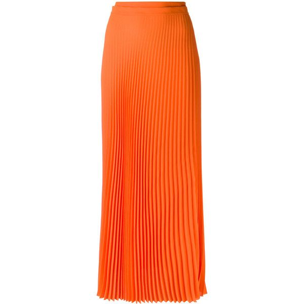 Haider Ackermann long pleated skirt ($1,425) ❤ liked on Polyvore featuring skirts, orange, long skirts, long maxi skirts, long orange maxi skirt, orange skirt and pleated skirt