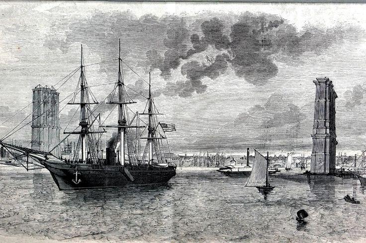 Brooklyn Bridge 1875 Swatara Steamer on East River NYC Matted Engraving Print | Art, Art Prints | eBay!
