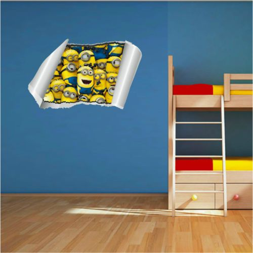 Despicable Me 2 Minions Wall Rip Art Printed Vinyl Sticker Childrens Bedroom