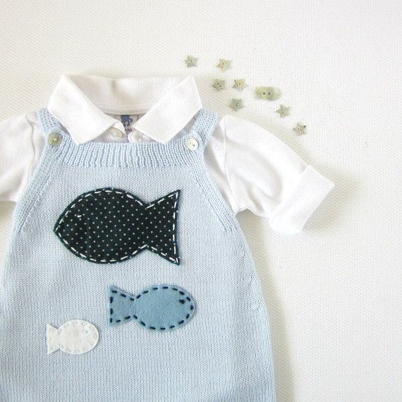 Knitted baby overalls in soft blue with fishes. 100% merino wool. READY TO SHIP size 1-3 months.