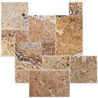 Scabos Brushed Unfilled Chiseled Small Versailles Pattern Travertine Floor Tile