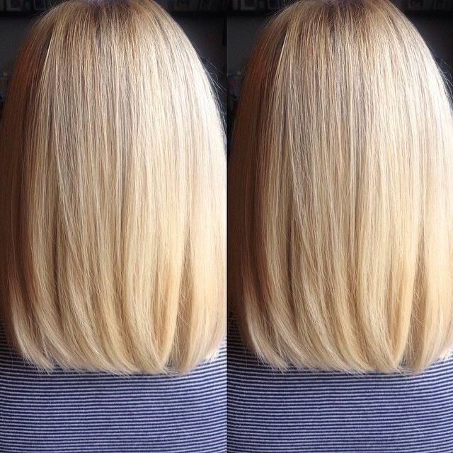 Medium length blunt cut for fine hair.                                                                                                                                                      More