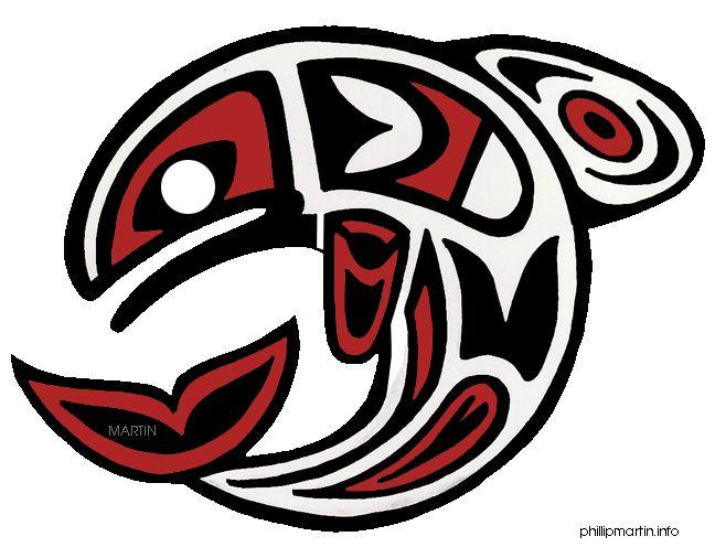 Free Native American Clip Art by Phillip Martin, Pacific Northwest Salmon Art