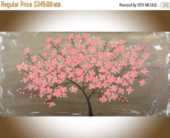 Large canvas painting brown pink flowers home decor wall art