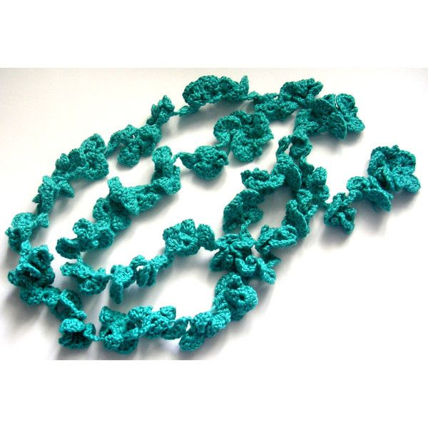 Crochet jewelry. Crochet necklace. Fiber necklace. Teal Necklace. Teal... (33 CAD) via Polyvore featuring jewelry, necklaces, teal necklace, macrame necklace, long necklaces, long jewelry and crochet jewelry