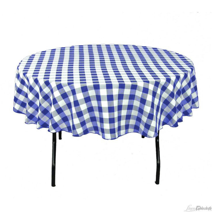 90 In. Round Tablecloth Blue U0026 White Checkered