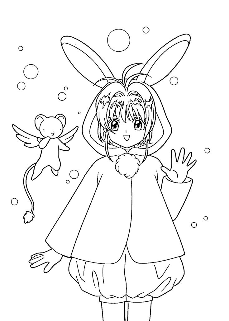 sakura anime coloring pages for kids printable free