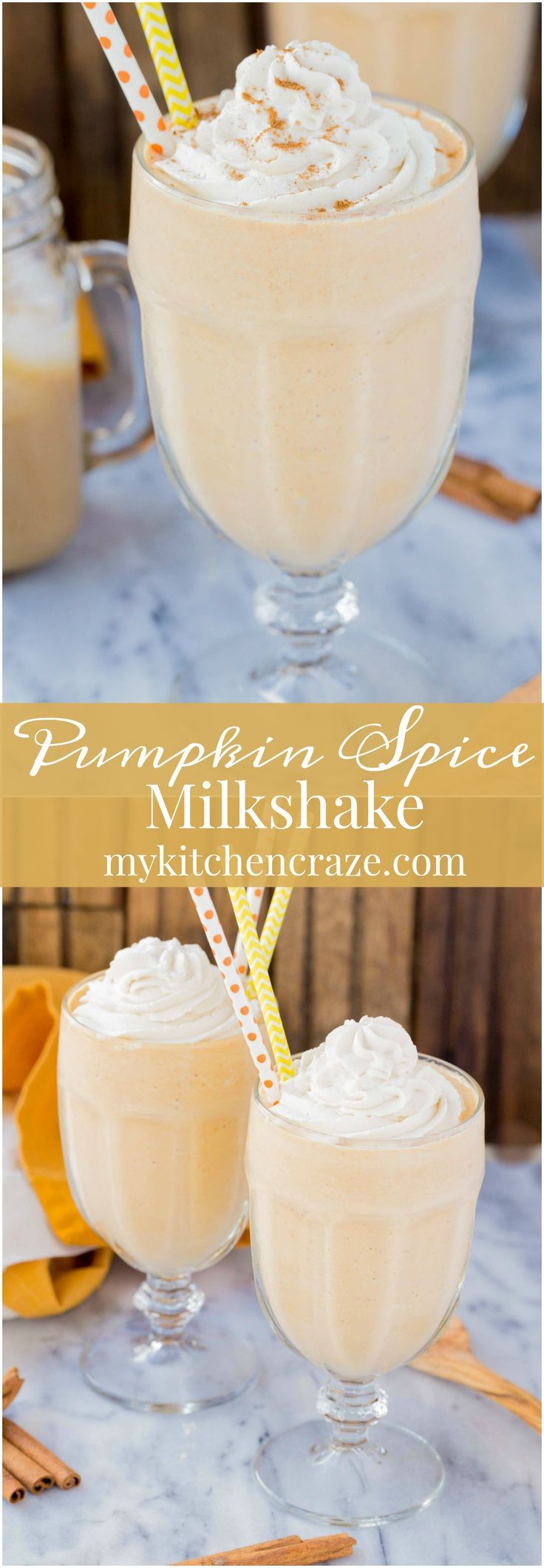Pumpkin Spice Milkshake ~ mykitchencraze.com ~ Start your Fall season off right and make this delicious Pumpkin Spice Milkshake. It's sure to brighten up your day! Filled with all the…