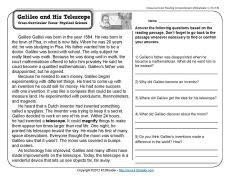 Galileo and His Telescope | 3rd Grade Reading Comprehension Worksheet