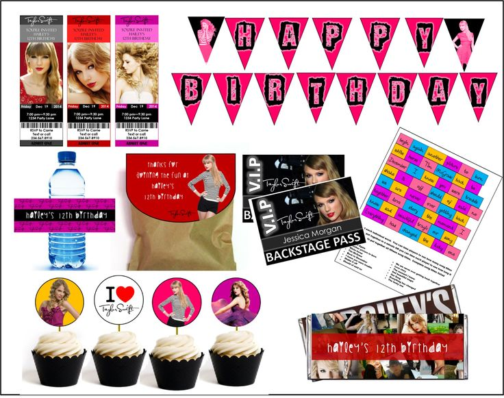 this downloadable party kit comes with everything you need to create a Taylor Swift party - PLUS you can personalize it!!