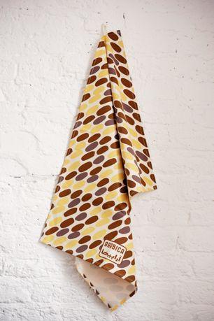 Screen printed cotton Arabica Date & Walnut kitchen tea towel.  Made in England
