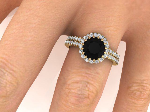 Black Diamond ring set, Black natural diamond rings, White Diamonds halo ring, Wedding and Engagement rings set, Yellow gold rings by BridalRings on Etsy https://www.etsy.com/listing/258755166/black-diamond-ring-set-black-natural
