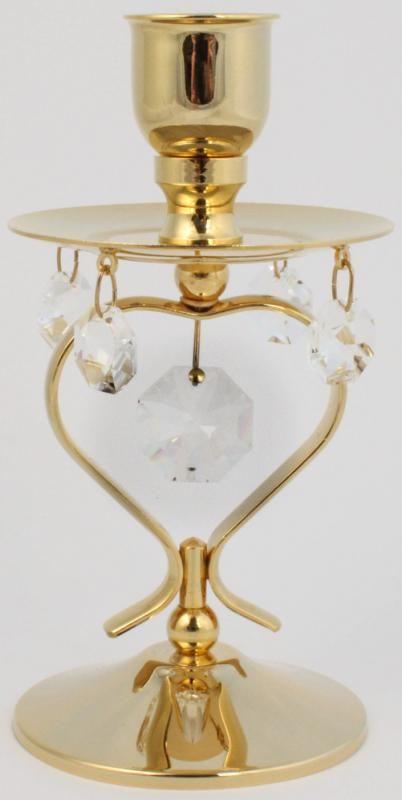 Kerzenständer mit Kristall Glas 24k gold überzogen MADE WITH SWAROVSKI ELEMENTS - premium-kristall