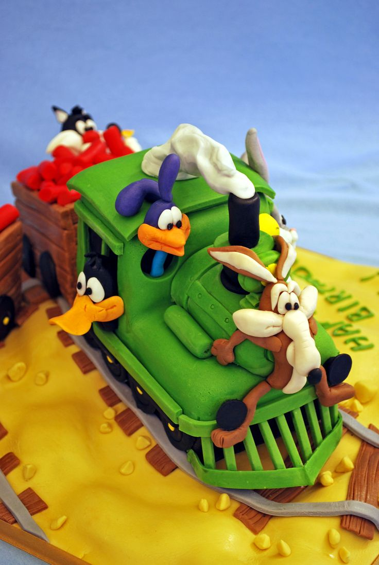 "Birthday Cake Photos - Looney Tunes characters on a train journey:) from a book ""Cartoon cakes"" Debbie Brown..it took me a lot of time but it was real fun making this cake:)"