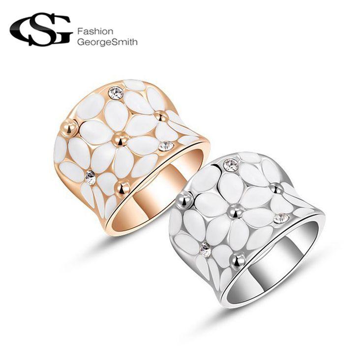 GS Classic Bloem Ringen voor Vrouwen AAA Zirkoon Kristallen Vergulde Rose Vergulde Elegant Ringen Sieraden Bruiloft anillos