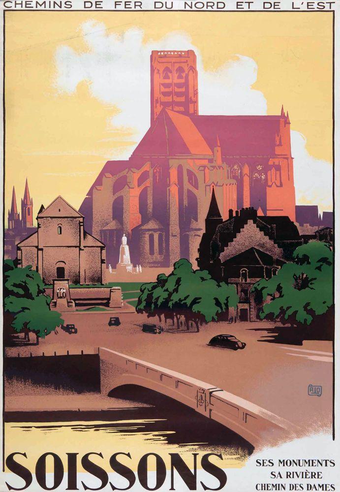 """Affiche chemin de fer Nord et Est - Soissons - illustration de Charles Hallo dit """"alo"""" - France -"""
