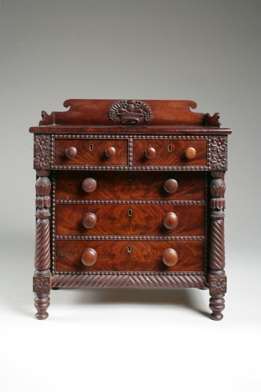 Antique Miniature Carved Classic Chest of Drawers, c. 1810 - love the hand carving, especially the fruit basket on top.