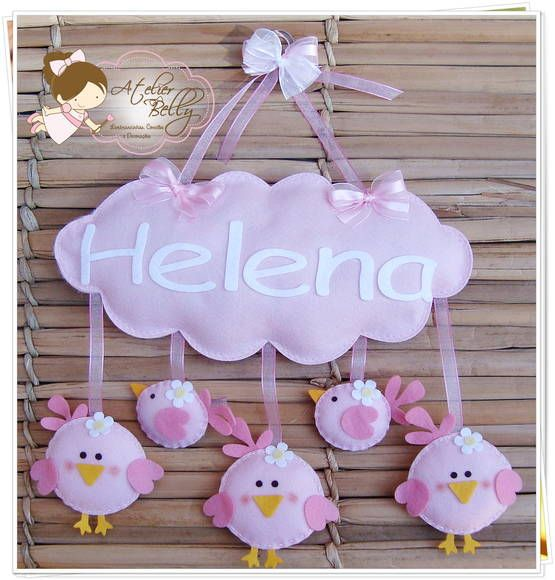 Door hanger felt birds