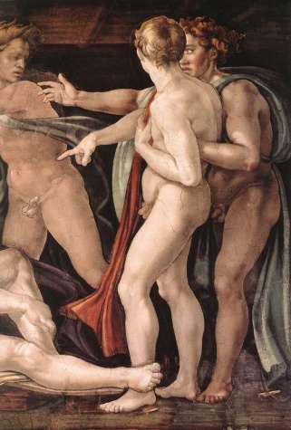 Michelangelo, Drunkenness of Noah, detail, Sistine Chapel, c. 1508 - 1512