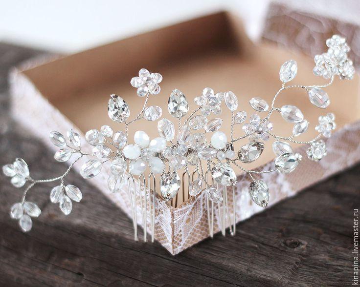 Свадебный гребень. Свадебное украшение для прически невесты. - гребень свадебный, гребень для волос, гребень