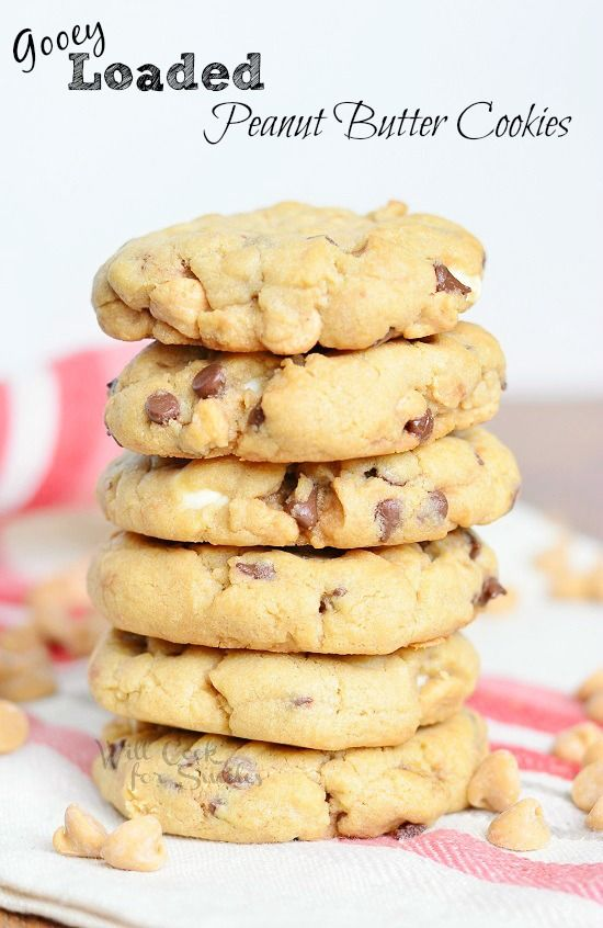 Soft and gooey peanut butter cookies that are loaded with white chocolate chips, mini chocolate chips and peanut butter morsels.