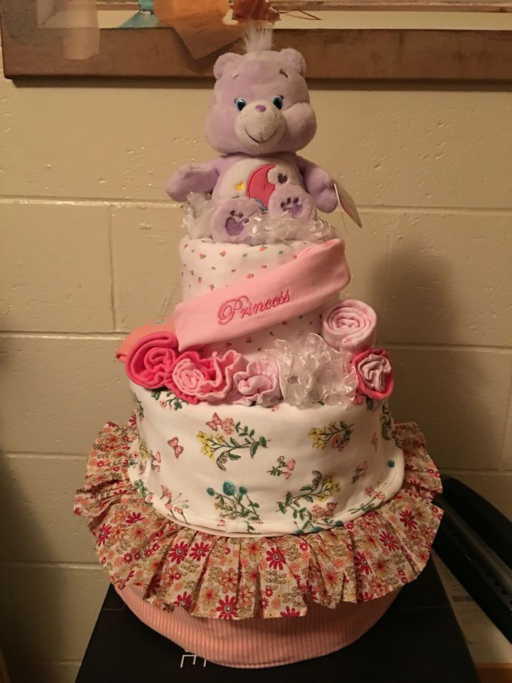 Diaper cake for baby girls~items selected frm gift registry.
