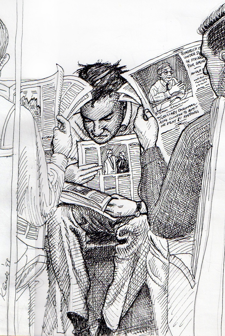 Drawn while commuting on Metro North RR into New York City. —Karl Gude