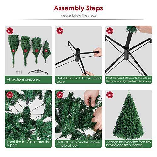 Amzdeal Christmas Tree 7 5ft Xmas Tree Spruce Artificial Christmas Tree Full Fake Tree With Stable S Artificial Christmas Tree Xmas Tree Little Christmas Trees