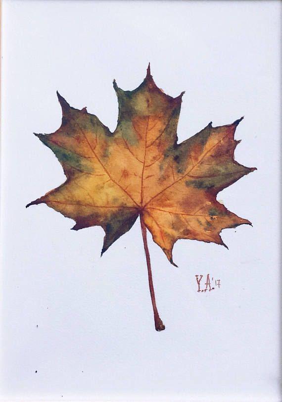 Watercolor maple leaf painting 29,7×21 cm – Katrin