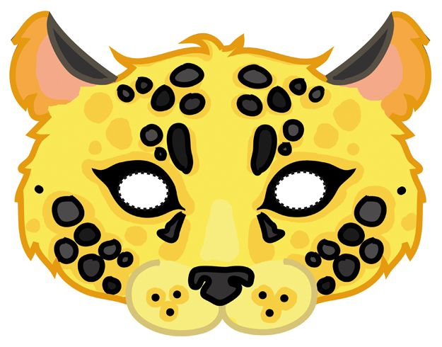 Download this mask here: http://it.piccolini.com/maschere-carnevale/2012/il-leopardo-affettuoso/