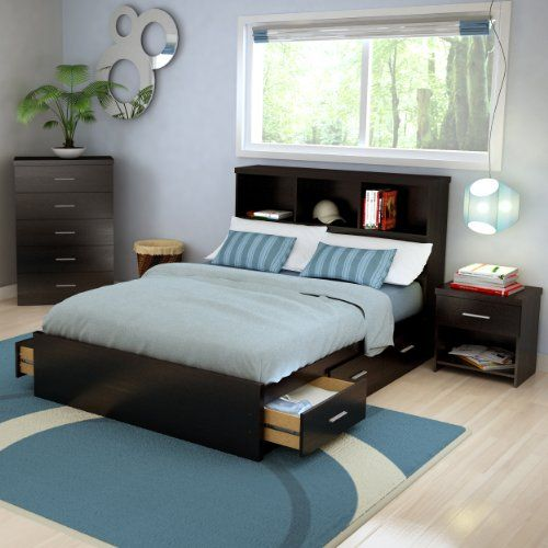 Sonax 2d 001 Lwb Double Storage 3 Piece Bed Set With Bookcase Headboard