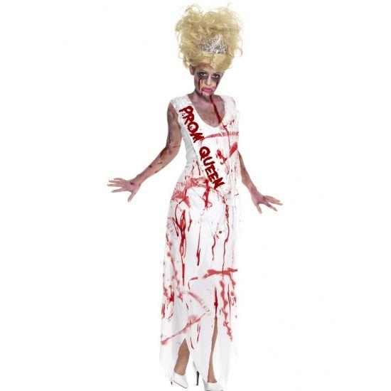 Prom Queen zombie kostuum. Zombie kostuum voor dames, in de vorm van een met bloed besmeurde prom queen jurk. Het kostuum bestaat uit de jurk met vaste sjerp.