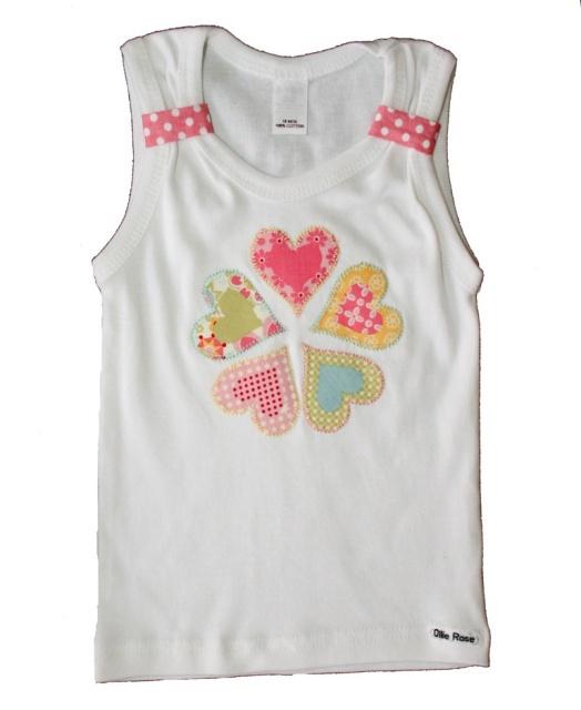 heart appliqués on girls singlet
