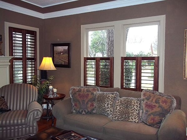 Stained Shutters Installed On White Casement Windows For A Dramatic Effect Also Cafe Style That Only Cover Half Wft Plantation In