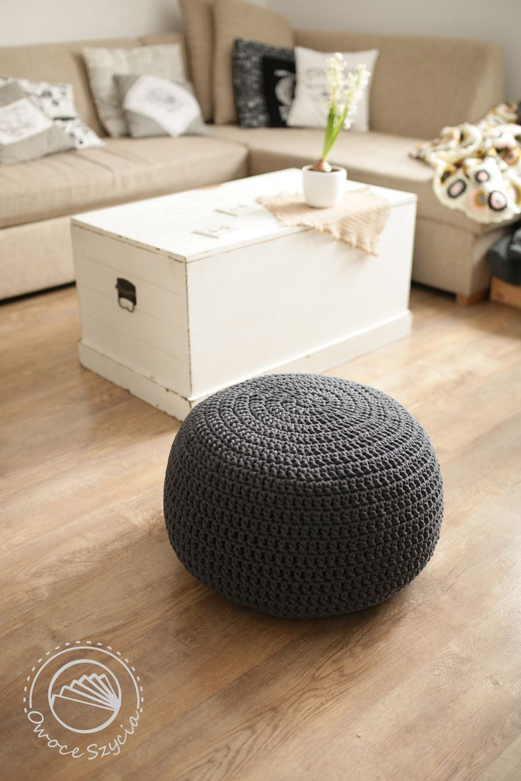 interior, living room, crochet pouf, sewed pillow