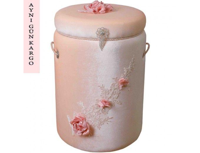 Applique-linge sale PANIER ROUND velours rose