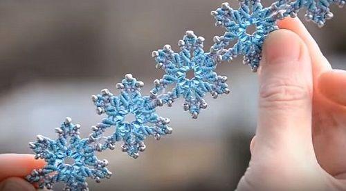 frozen ice flower macrame bracelet