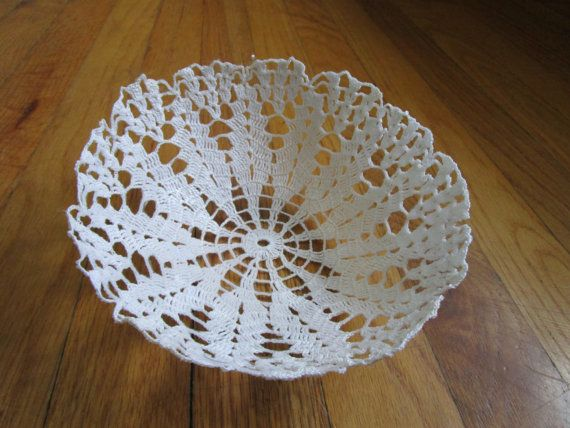 Check out this item in my Etsy shop https://www.etsy.com/listing/286600575/white-vintate-lace-crochet-doily-bowl