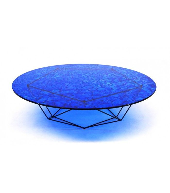 Bright Blue Round Glass Coffee Table
