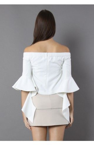 Ethereal Frilling Off-shoulder Top in White - Retro, Indie and Unique Fashion