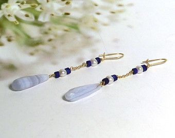 Chalcedony Lapis Lazuli And Pearl Dangle Earrings 18 Kt Yellow Gold Handmade Drop
